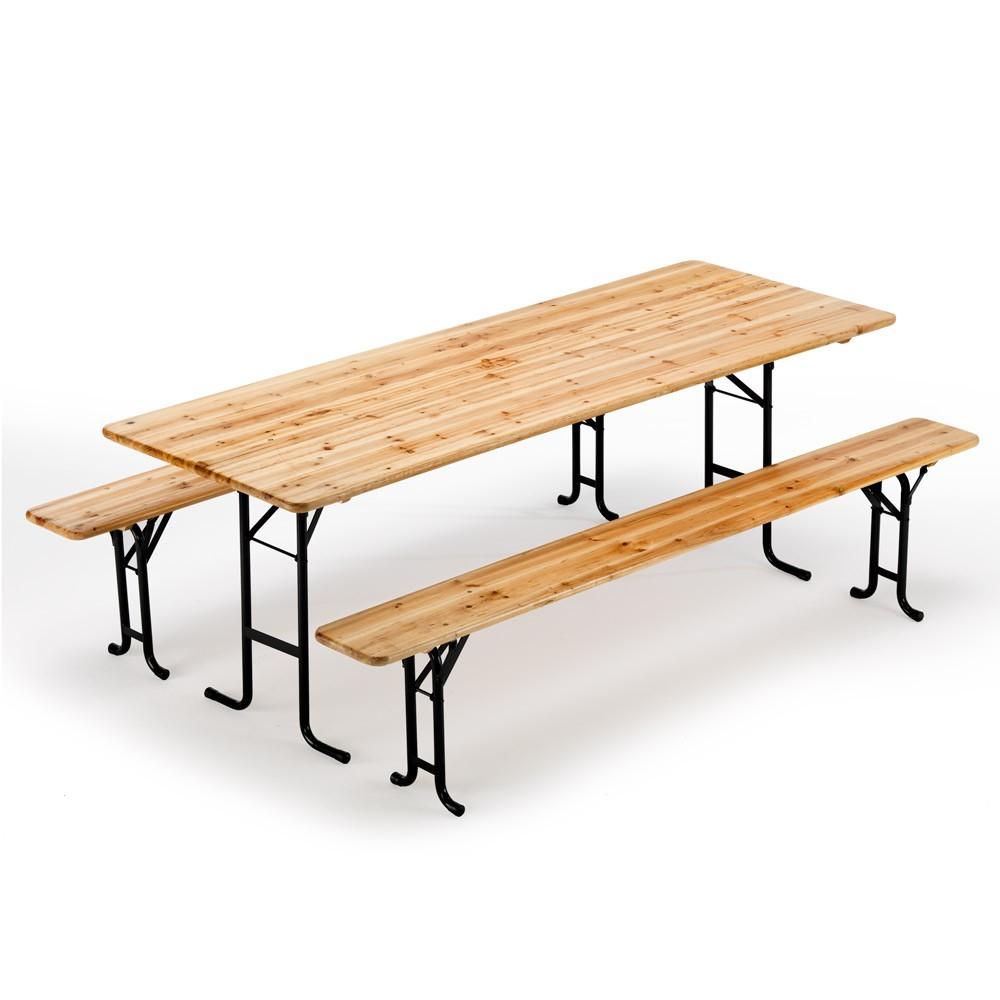 Bierzeltgarnitur Tisch und Bänke Holz Biergarten Festzelt