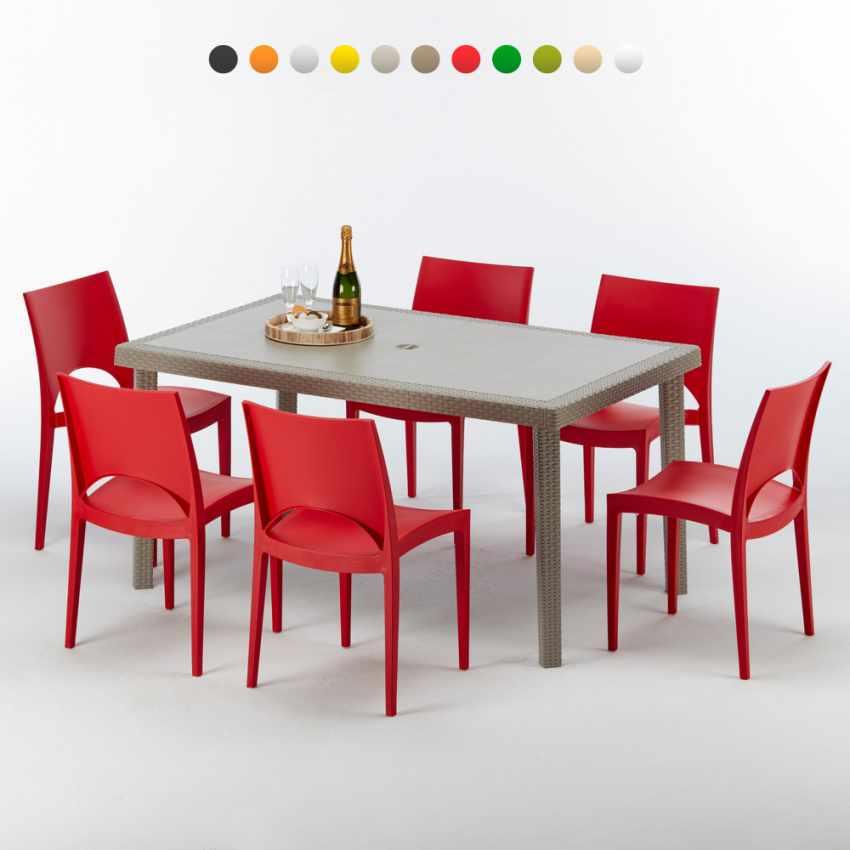 Marion Polyrattan Tisch Rechteckig mit 6 Bunten Stühlen 150x90 Beige