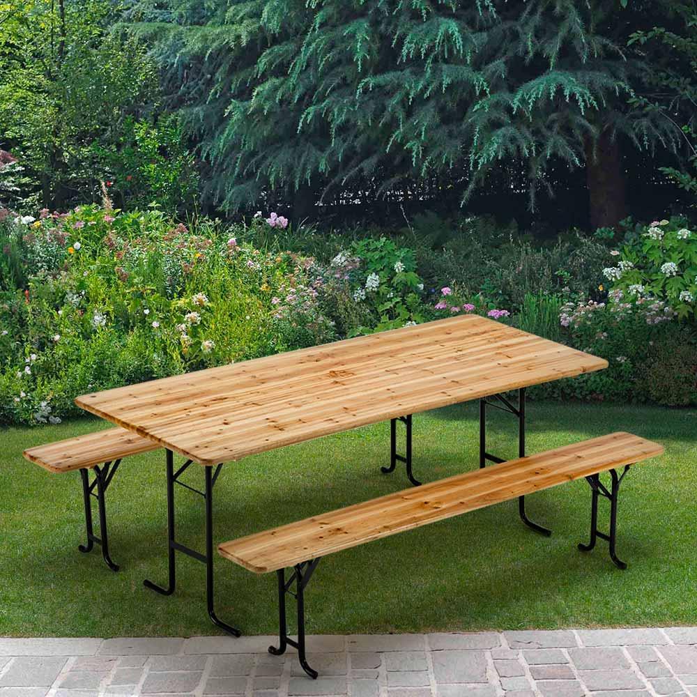 Bierzelt-garnitur Tisch Und Bänke Holz Biergarten Festzelt 220x80