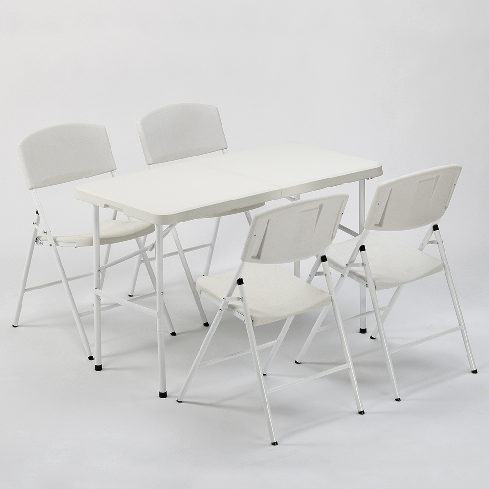 Set Rechteckigen Tisch 120x60 und 4 Klappbare Camping- und Gartenstühle Hood