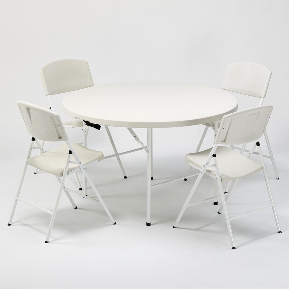 Runder Tisch mit 120 und 4 Klappstühlen, Ideal für Camping und Garten Columbia