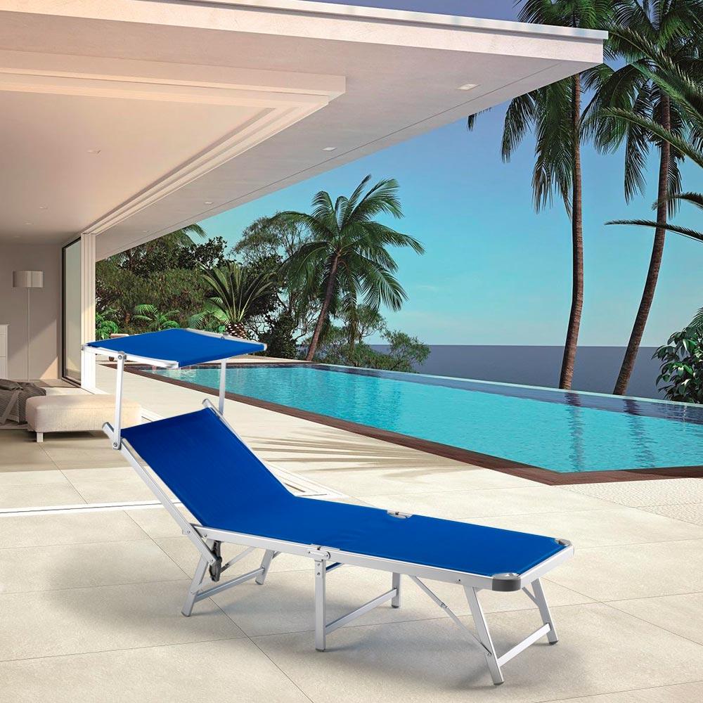 Sonnenliege Aus Aluminium Klappbar Mit Sonnenschutz Für Strand Meer Strandliegen Gabicce