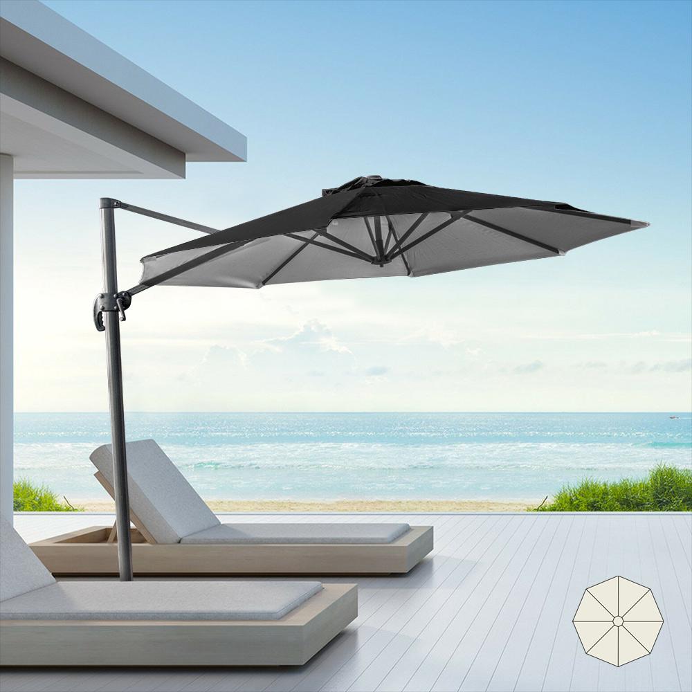 Aluminium-Gartenschirm mit dezentraler Stange für Haus 3x3m Paradise Noir