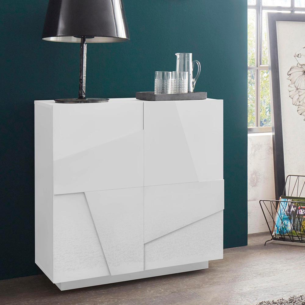 Sideboard 2 Türen 2 Abstellflächen modernes Design weiß 81x44cm H86 Ping Side S