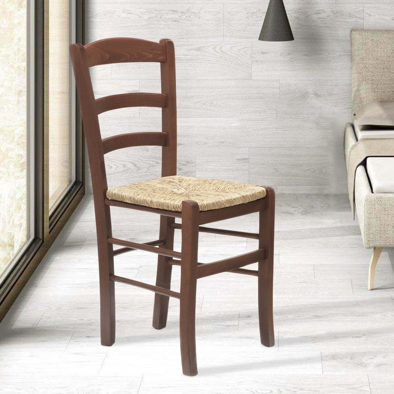 Esstischstuhl Massivholz Stul Für Esszimmer Sitzfläche Aus Stroh Paesana