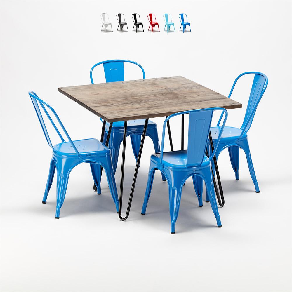 Bay Ridge Quadratische Holztischgarnitur Und Metallstuhle Entworfen Von Tolix Industriedesign