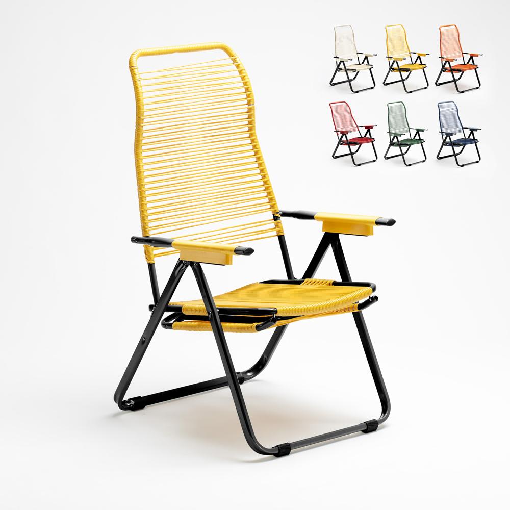 Klappbarer Garten-Liegestuhl aus Stahl Spaghetti Dark