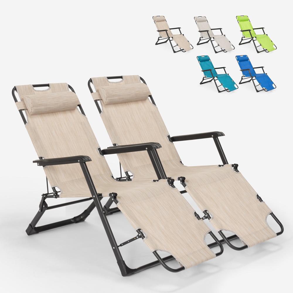 2 klappbare Liegestühle mit mehreren Positionen Zero Gravity Emily Lux