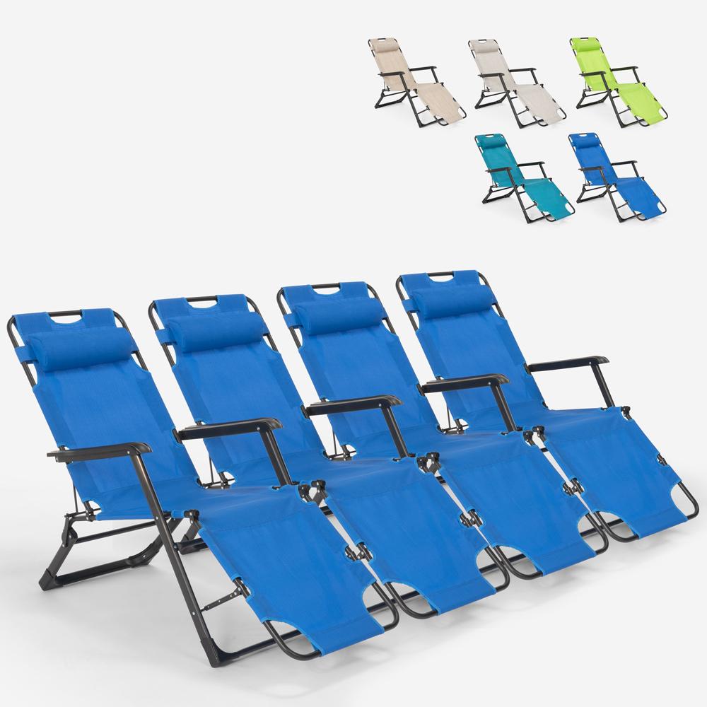4 klappbare Garten-Strandkörbe mit mehreren Positionen Zero Gravity Emily Lux