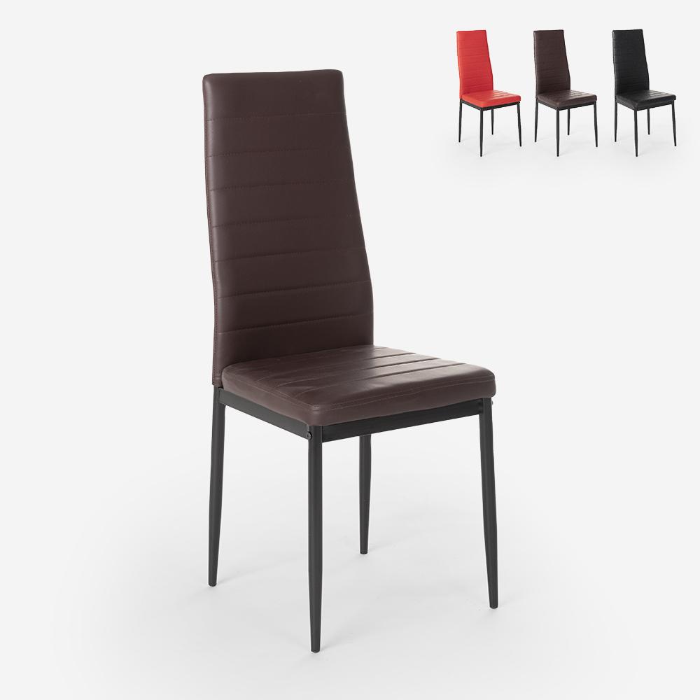 Polsterstuhl mit modernem Design Kunstleder für Restaurant Küche und Esszimmer Imperial Dark