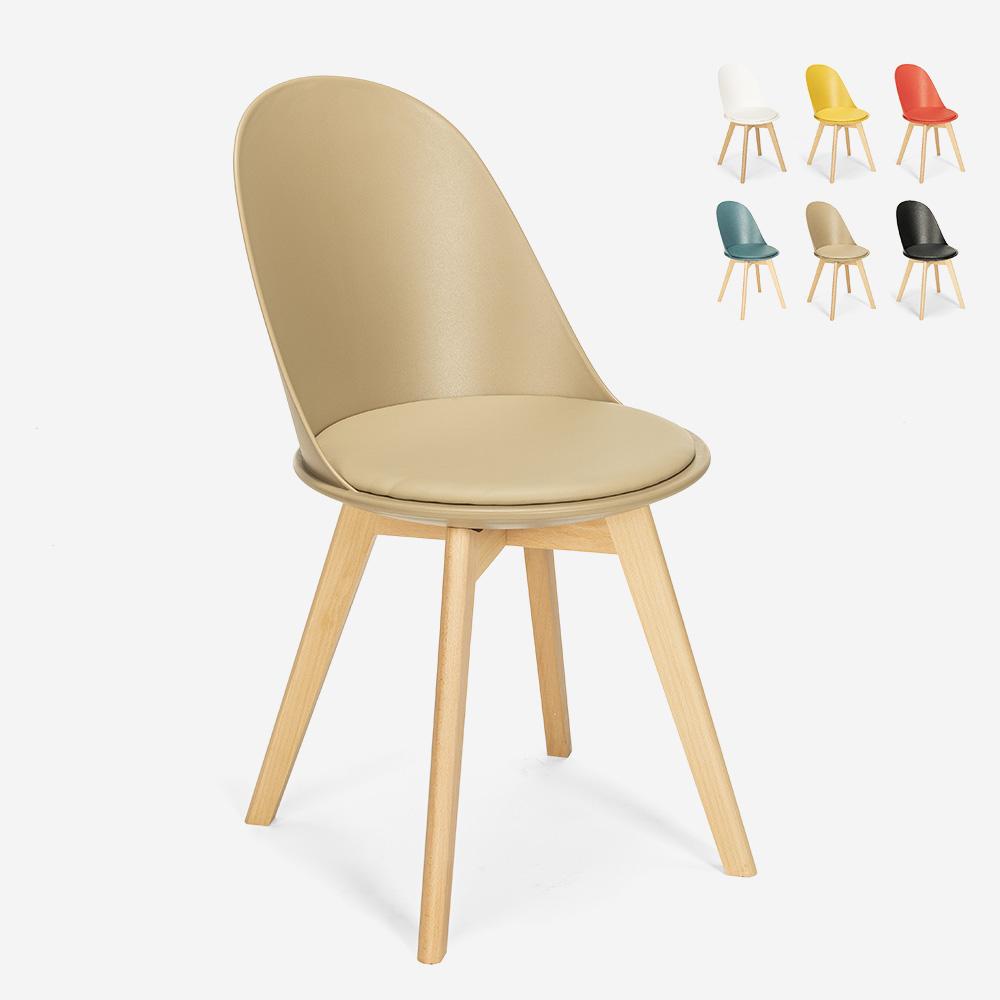 Skandinavischer Design Stuhl Holz Kissen Küche Esszimmer Restaurant Bib Nordica