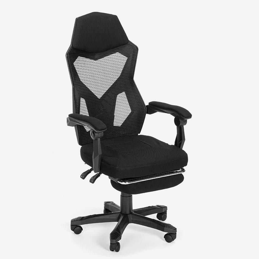 Gaming Stuhl Sessel futuristisches Design ergonomisch atmungsaktiv mit Fußstütze Gordian Plus Dark