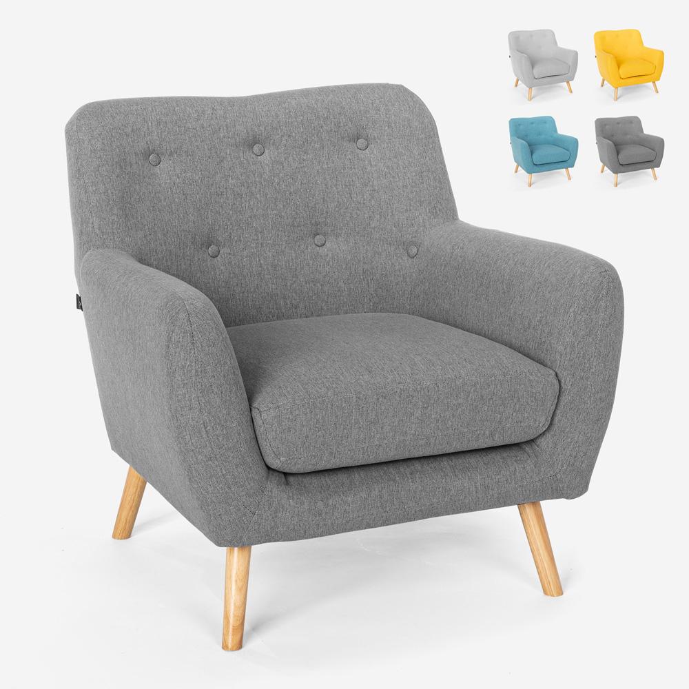 Moderner Design Loungesessel im nordischen Stil aus Holz und Stoff Modesto
