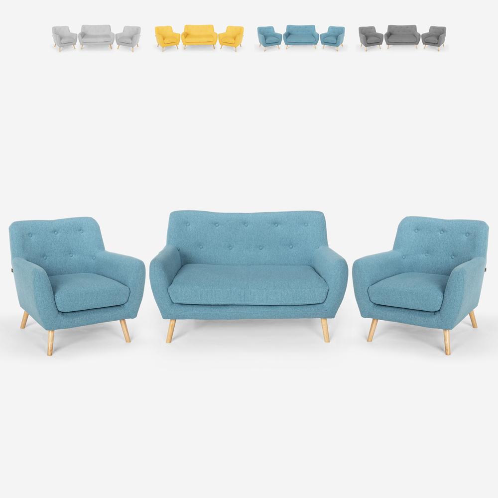 Wohnzimmer-Set 2 Sessel im skandinavischen Design und 2-Sitzer-Sofa aus Holz und Stoff Cleis