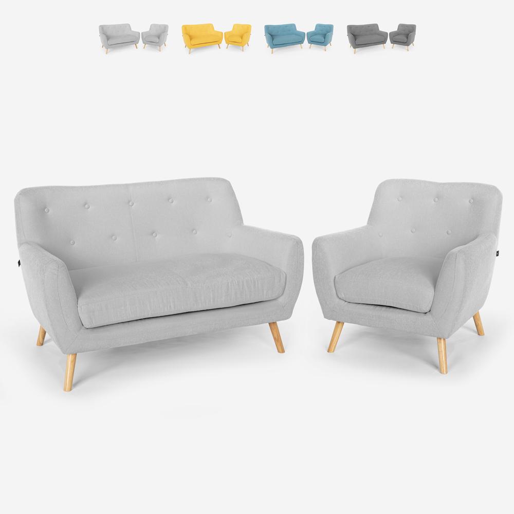 Wohnzimmerset Sessel Sofa 2-Sitzer Skandinavisches Design Holz und Stoff Algot