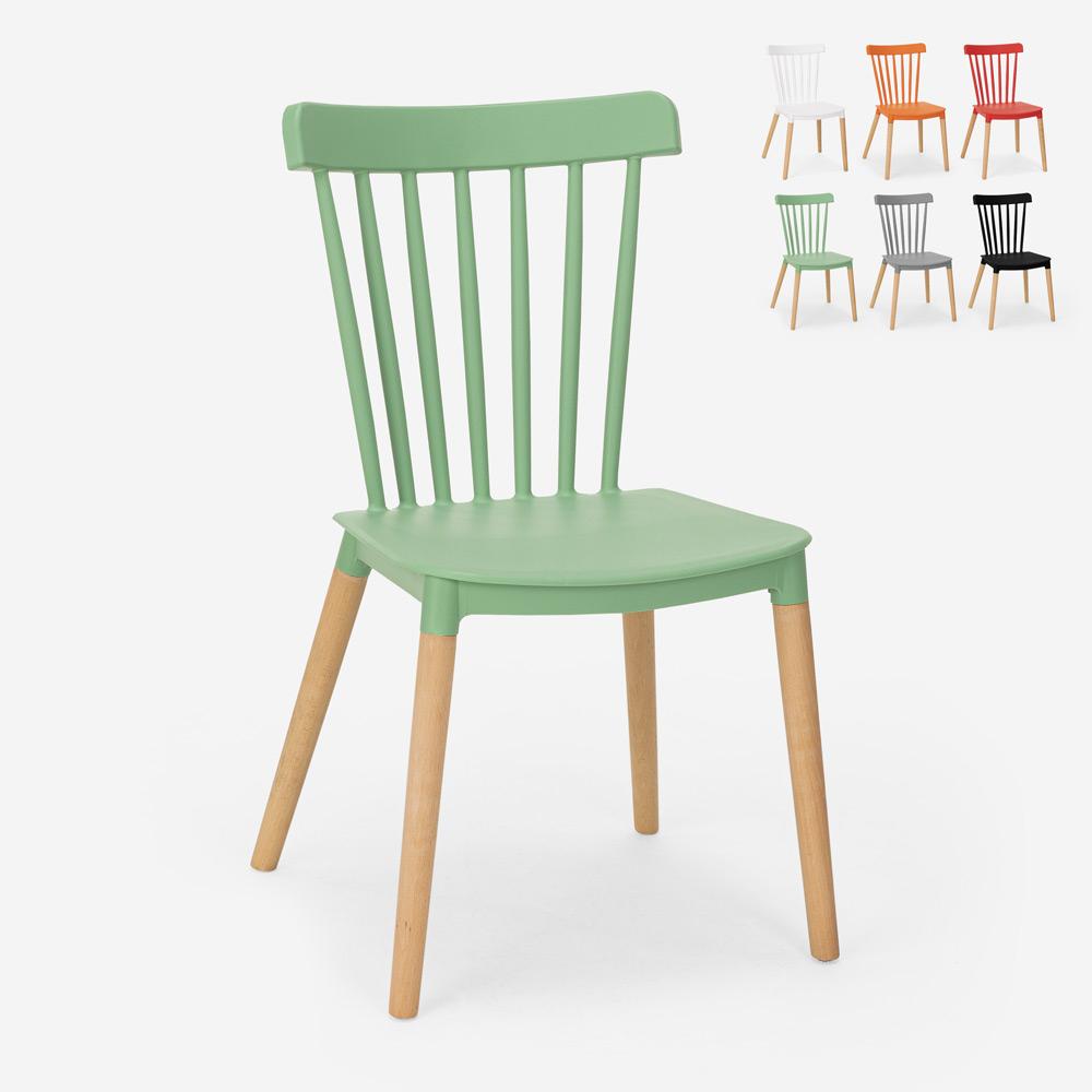 Moderner Designstuhl aus Polypropylen Holz Küche Restaurant Lys