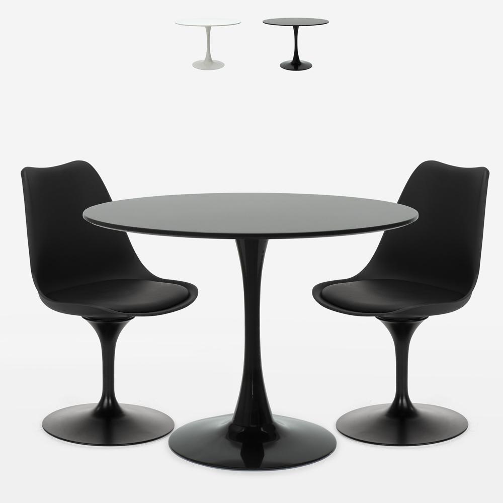 Tischset Rund 80cm 2 Stühle Tulip-Design moderner skandinavischer Stil Aster