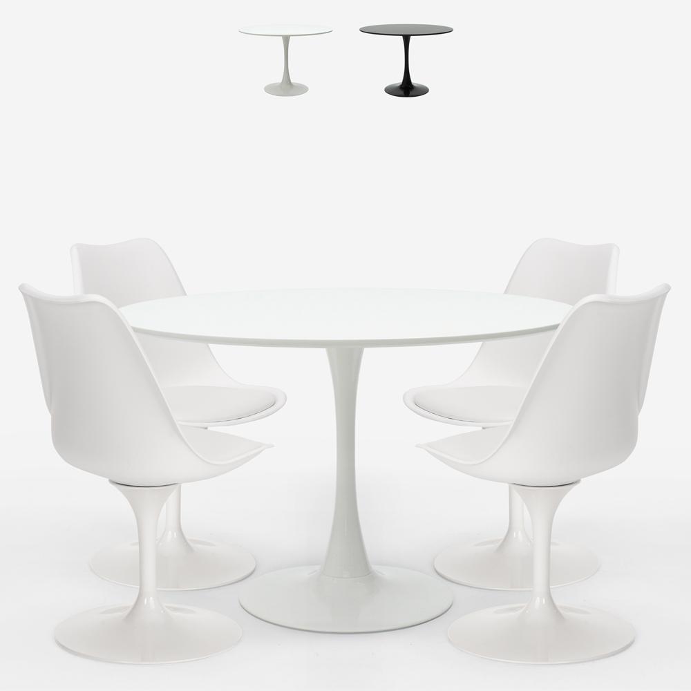 Tischset Rund 120cm 4 moderne Tulip Stühle im skandinavischen Stil Margot